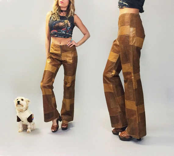Brown Honey Unworn Deadstock 32 Suede Bell Vintage PATCHWORK Tan Mocha Hippie Bottom 1970's Rare Size Boho amp; Leather Pants And xYwgzq08