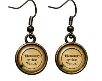 """Sherlock Holmes """"Elementary, my dear Watson."""" Earrings"""