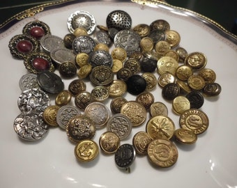 73 Vintage Antique Metal Buttons Lovely Variety Military Style Decorative Detailed Gold Silver Bronze Brass Toned