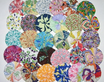 Fabric YoYos, 20 Multi Color Prints, 2 Inch Size, Appliques, Quilting, Embellishments