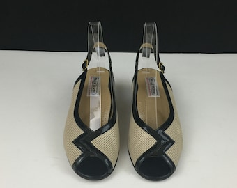 Vtg Valleverde Womens Tan Mesh/Black Slingback Leather Peep Toe Pump US 6 Italy