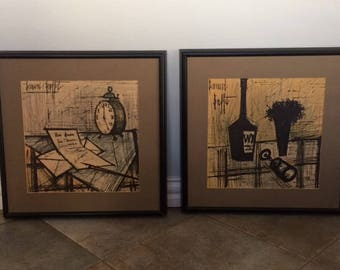 "Bernard Buffet "" Still Life"", French Expressionist Set of Two Litographs  signed"
