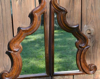 Vintage Mirror Matching Set Complimentary Solid Wood Ornate Design Salvaged Furniture PanchosPorch