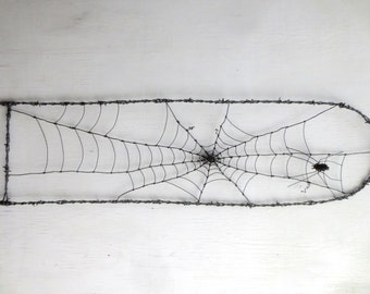 """48"""" Tall Spider In A Tattered Web Barbed Wire Garden Trellis Made to Order"""