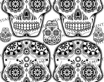 Sepia Ceramic decals, skulls, fusible transfers, transfers fusing, Mexican skulls ceramic decals, glass pendants, sugar skull decals