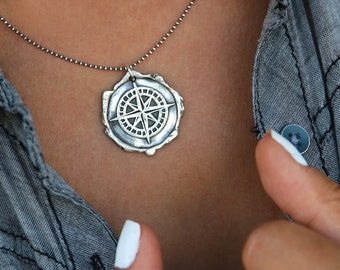 Nautical Jewelry, Nautical Necklace, Nautical Compass, Compass Necklace, Sterling Silver Nautical Compass Necklace, Nautical Compass Gift