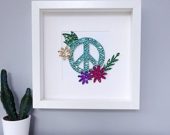 Peace sign art, boho decor, bohemian decor, wall art, hippie decor, bohemian art, student gift, teen room decor, peace sign, wall decor