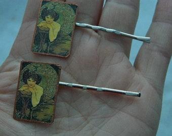 Mucha Bobby Pins Emerald Hair Accessory Art bobby pin Art jewelry