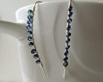 Blue Sapphire earrings - September birthstone - Sapphire earrings - sterling silver threader earrings - dark blue earrings - something blue