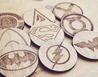 Set of 9 Justice League Inspired Wooden Coasters