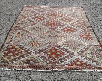 "Turkish kilim rug ,  kilim rug,vintage kilim rug,Anatolian Turkish, rug,Kelim rug ,Turkish Kilim6'1""x 8'5""ft  kilim Rug"