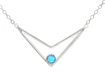 Blue Opal Chevron Necklace in Sterling Silver  16'' - 18''
