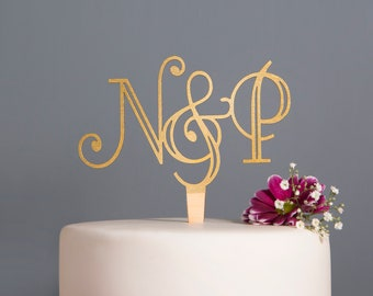 Initial Art Deco Wedding Cake Topper, Gold Cake Topper, Silver Cake Topper, Mr and Mrs cake topper, cake topper