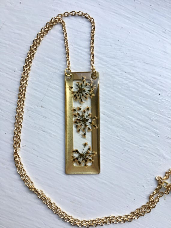 Queen Anne's Lace flower brass rectangle necklace