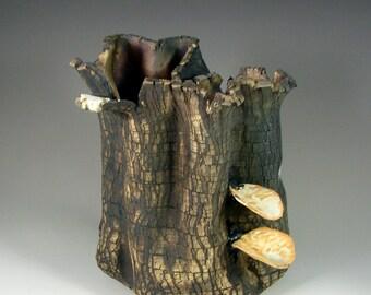 "Pottery Sculpture Centerpiece – Ceramic Art -""Forest Fungus II"" – Handmade Clay Centerpiece – Wheel Thrown Stoneware Art – Unique Pottery"