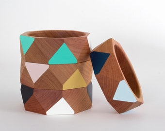 Wide wooden bangle faceted