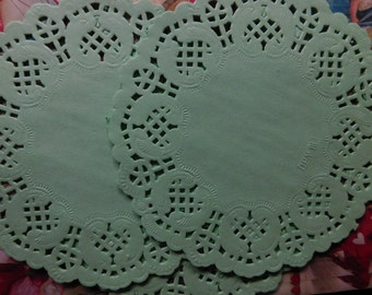 Pale Green Round Paper Lace Doilies - Two Dozen