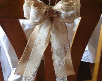 Handmade Wired Burlap Lace Bow, wedding chair pew decoration, shabby chic, rustic, Wreath bow