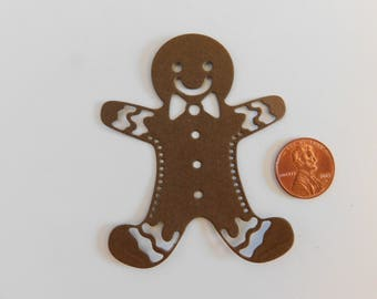 Gingerbread Boy / Die Cut Gingerbread Paper embellishments, cupcake topper, Party table confetti, Teacher, cardmaking, scrapbooking supplies