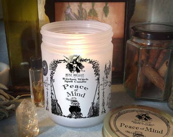 Peace of Mind Kitchen Witch Candle Jar, Herb Dressed Candle Included