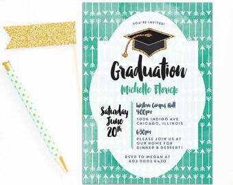 Southern Graduation invite, Graduation dinner invitation, Printable Grad party invite, arrows Grad invite, Summery Graduation invite