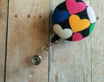 CLEARANCE Retractable Badge Clip ID Holder, Brightly Colored Hearts on Black Cotton, 4 Badge Reel Choices, Made in USA, Heart Badge Clip