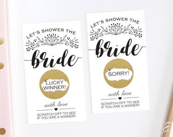 Black and White Bridal Shower Scratch Off Cards  - Bridal Shower Game - Bachelorette Party Game