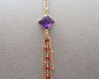 Amethyst Drop Necklace / Ruby and Amethyst Jewelry / February Birthstone Necklace / Purple Red Stone Necklace / Amethyst Dangle Pendant /