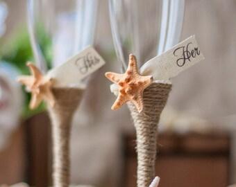 Beach Champagne Flutes, Beach Wedding Flutes, Mr and Mrs Wedding Glasses Starfish Wedding Decor, Rustic Beach Glasses, Champagne Glasses