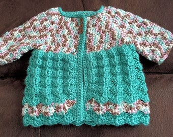 Crochet 3 - 6 Month Baby Girl's Sweater, Teal and Multi-Color Sweater