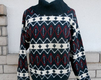 60s 70s Wool Turtleneck Sweater . Ski Sweater . Made in Italy for B Altman & Co. Size S-M