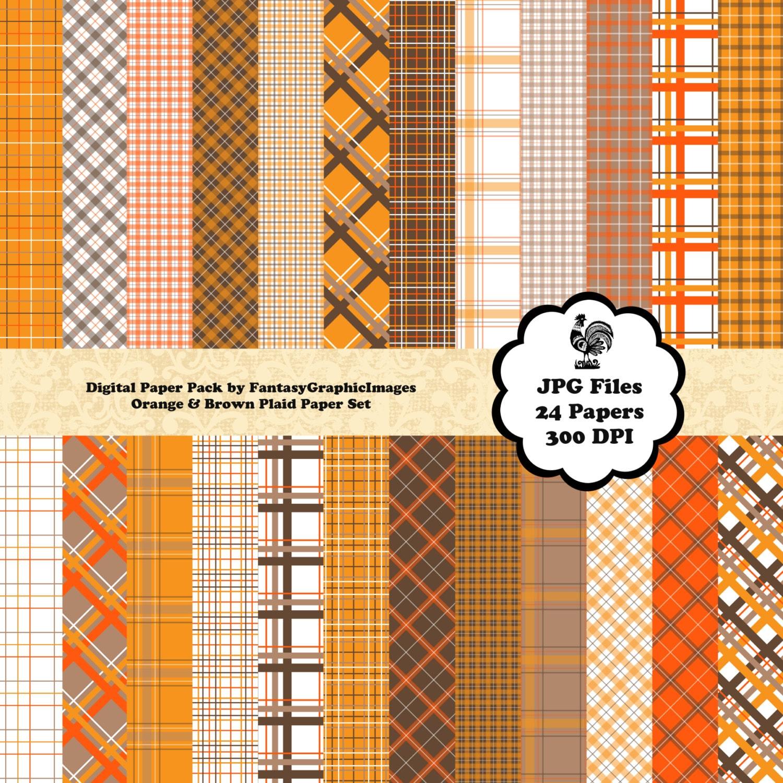 Terms Of Use: Plaid Scrapbook Paper CU Digital Pack Orange Brown Autumn