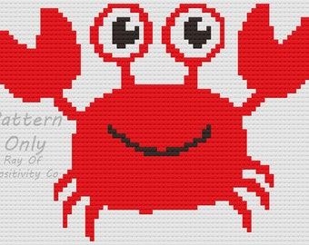 Red Crab Baby Blanket C2C Crochet Pattern Chart Graph