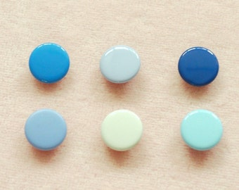 50 sets, Blue Shade (6 colors) Capped Prong Snap Button, Size 18L (11.3 mm)