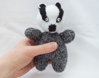 Hand Knitted Badger, Soft Stuffed Toy, Woodland Animal