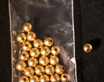 Round Metal Beads 8 mm Hamilton Gold plated
