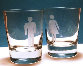 Wedding Man/Woman Glass set - whiskey glasses