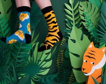 Mismatched Socks Bengalia, Tiger Mismatched Socks, Jungle Mismatched socks