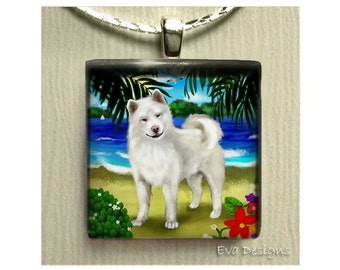 WHITE AKITA DOG tropical beach handmade necklace jewelry art gift pet 1 inch glass tile pendant with chain
