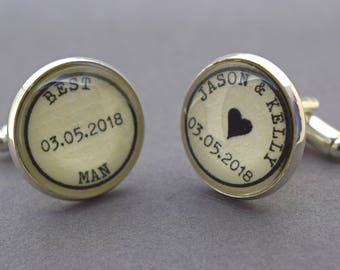 Vintage Wedding cufflinks, custom design with names and date. Groom cufflinks, best man, father of the bride, father of the groom, usher.