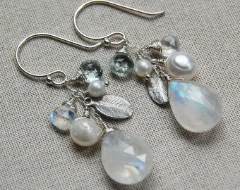 Moonstone, Pearl, and Aquamarine Cluster Earrings in Silver, Delicate and Feminine