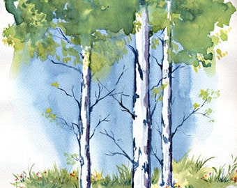 Birch Tree Limited Edition Art Print on Watercolor Paper Signed  Numbered Chris Wakefield
