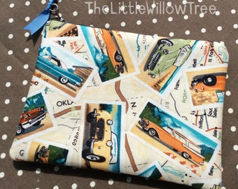 Handmade Zipper Pouch, Retro Car Design