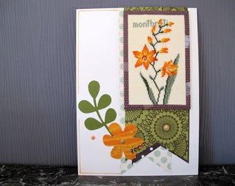 Picture embroidered montbretie flower orange