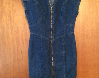 Vintage Women's Amancio Denim Zipper Front Mini Dress 11 80s