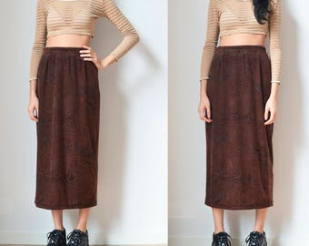 90s BROWN VELVET SKIRT -grunge, gothic, long, maxi, clueless, festival, club kid, party, seapunk, psychedelic, 80s-