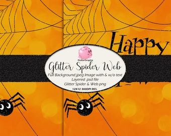 Glitter Spider and Web Halloween Background, PSD, & PNG Files