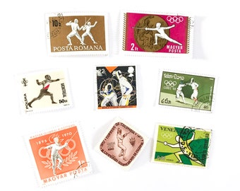 8 x Fencing postage stamps - from 7 countries, used, off paper, all different - Fencer Olympics - for collecting, paper craft
