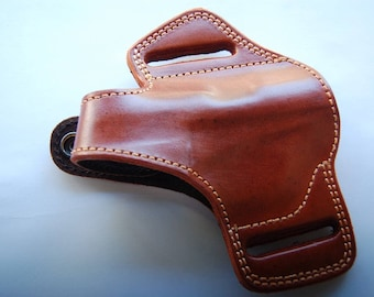 Colt Mustang Pocketlite 380 Handcrafted Leather Belt Holster Tan Black