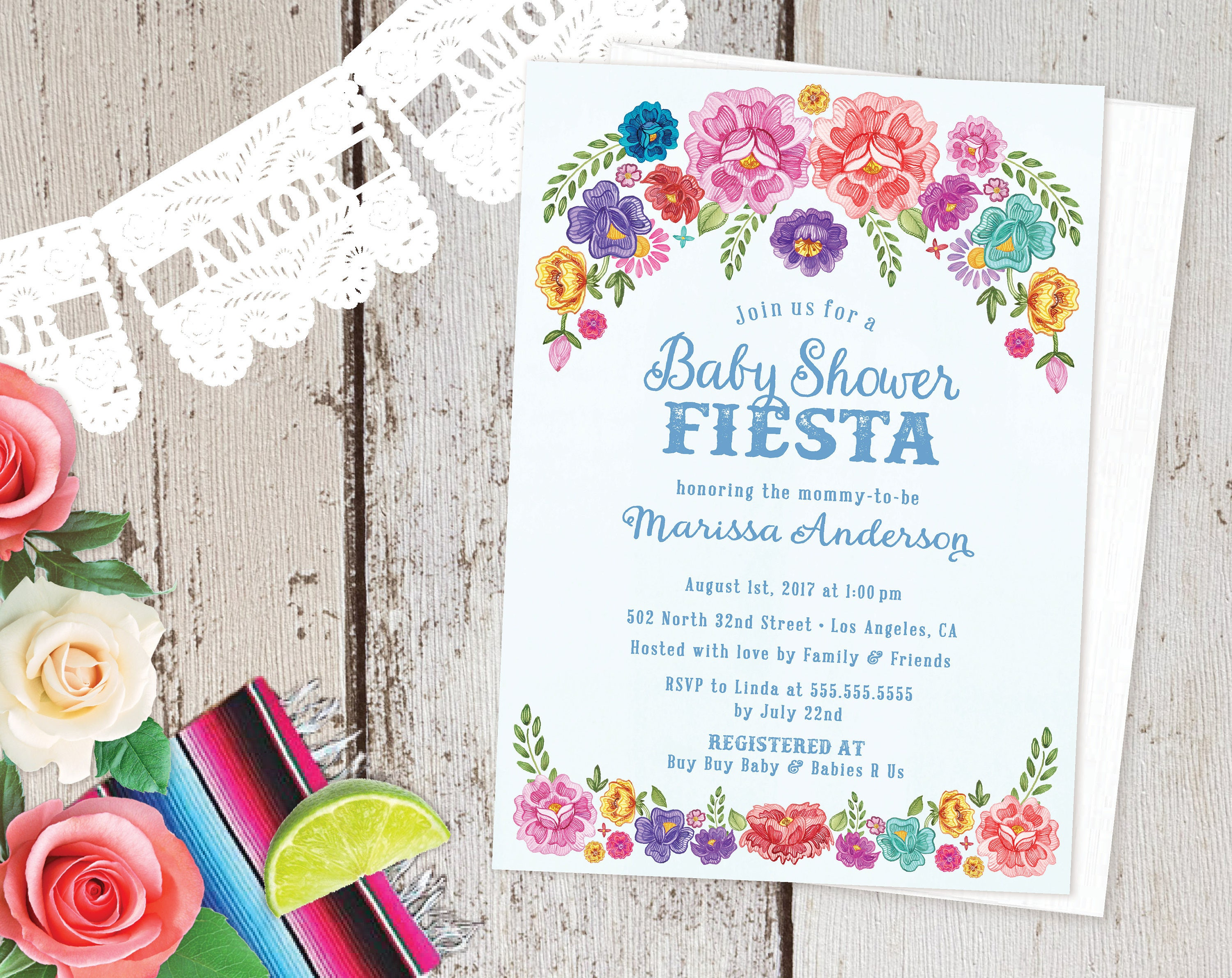 Mexican Fiesta Theme Floral Baby Shower Invitations Spanish